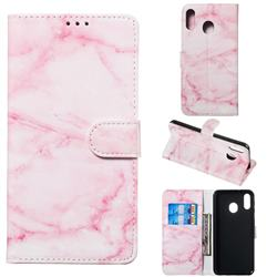 Pink Marble PU Leather Wallet Case for Samsung Galaxy M20