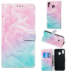 Pink Green Marble PU Leather Wallet Case for Samsung Galaxy M20