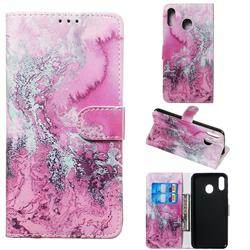 Pink Seawater PU Leather Wallet Case for Samsung Galaxy M20