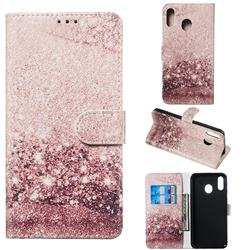 Glittering Rose Gold PU Leather Wallet Case for Samsung Galaxy M20