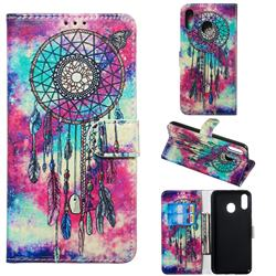 Butterfly Chimes PU Leather Wallet Case for Samsung Galaxy M20