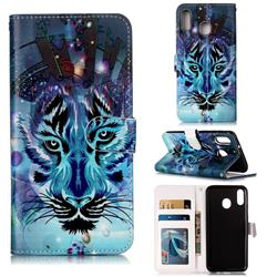 Ice Wolf 3D Relief Oil PU Leather Wallet Case for Samsung Galaxy M20