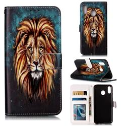 Ice Lion 3D Relief Oil PU Leather Wallet Case for Samsung Galaxy M20