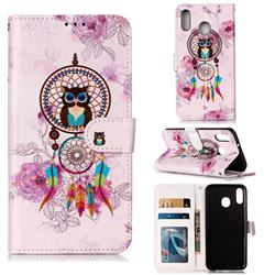 Wind Chimes Owl 3D Relief Oil PU Leather Wallet Case for Samsung Galaxy M20
