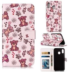 Cute Bear 3D Relief Oil PU Leather Wallet Case for Samsung Galaxy M20