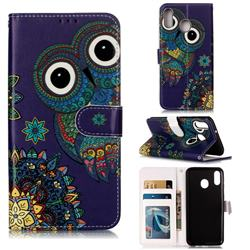 Folk Owl 3D Relief Oil PU Leather Wallet Case for Samsung Galaxy M20