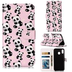 Cute Panda 3D Relief Oil PU Leather Wallet Case for Samsung Galaxy M20