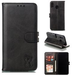 Embossing Happy Cat Leather Wallet Case for Samsung Galaxy M20 - Black