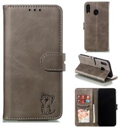 Embossing Happy Cat Leather Wallet Case for Samsung Galaxy M20 - Gray