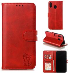 Embossing Happy Cat Leather Wallet Case for Samsung Galaxy M20 - Red