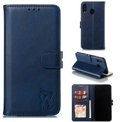 Embossing Happy Cat Leather Wallet Case for Samsung Galaxy M20 - Blue