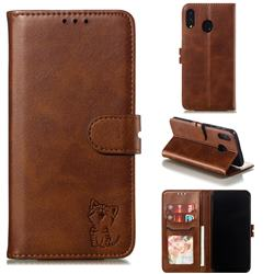 Embossing Happy Cat Leather Wallet Case for Samsung Galaxy M20 - Brown