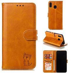 Embossing Happy Cat Leather Wallet Case for Samsung Galaxy M20 - Yellow