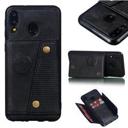 Retro Multifunction Card Slots Stand Leather Coated Phone Back Cover for Samsung Galaxy M20 - Black