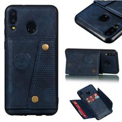 Retro Multifunction Card Slots Stand Leather Coated Phone Back Cover for Samsung Galaxy M20 - Blue