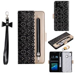 Luxury Lace Zipper Stitching Leather Phone Wallet Case for Samsung Galaxy M20 - Black