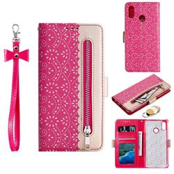 Luxury Lace Zipper Stitching Leather Phone Wallet Case for Samsung Galaxy M20 - Rose