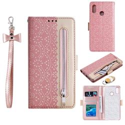 Luxury Lace Zipper Stitching Leather Phone Wallet Case for Samsung Galaxy M20 - Pink