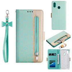 Luxury Lace Zipper Stitching Leather Phone Wallet Case for Samsung Galaxy M20 - Green