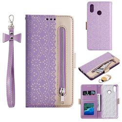 Luxury Lace Zipper Stitching Leather Phone Wallet Case for Samsung Galaxy M20 - Purple