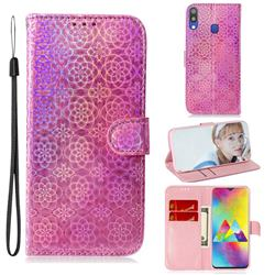 Laser Circle Shining Leather Wallet Phone Case for Samsung Galaxy M20 - Pink