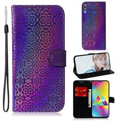 Laser Circle Shining Leather Wallet Phone Case for Samsung Galaxy M20 - Purple