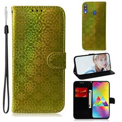 Laser Circle Shining Leather Wallet Phone Case for Samsung Galaxy M20 - Golden