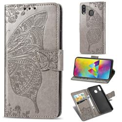 Embossing Mandala Flower Butterfly Leather Wallet Case for Samsung Galaxy M20 - Gray