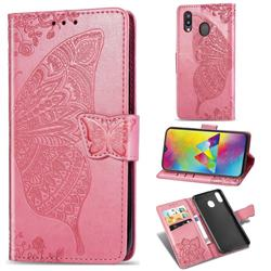 Embossing Mandala Flower Butterfly Leather Wallet Case for Samsung Galaxy M20 - Pink