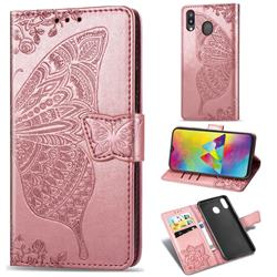 Embossing Mandala Flower Butterfly Leather Wallet Case for Samsung Galaxy M20 - Rose Gold