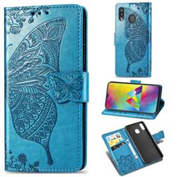 Embossing Mandala Flower Butterfly Leather Wallet Case for Samsung Galaxy M20 - Blue