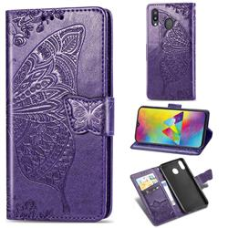 Embossing Mandala Flower Butterfly Leather Wallet Case for Samsung Galaxy M20 - Dark Purple