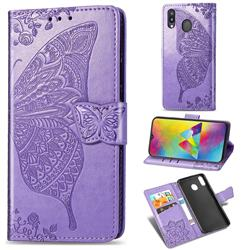 Embossing Mandala Flower Butterfly Leather Wallet Case for Samsung Galaxy M20 - Light Purple