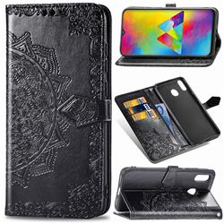 Embossing Imprint Mandala Flower Leather Wallet Case for Samsung Galaxy M20 - Black