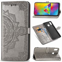Embossing Imprint Mandala Flower Leather Wallet Case for Samsung Galaxy M20 - Gray
