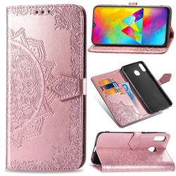 Embossing Imprint Mandala Flower Leather Wallet Case for Samsung Galaxy M20 - Rose Gold