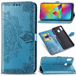 Embossing Imprint Mandala Flower Leather Wallet Case for Samsung Galaxy M20 - Blue