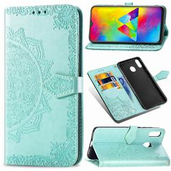 Embossing Imprint Mandala Flower Leather Wallet Case for Samsung Galaxy M20 - Green