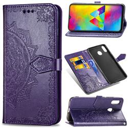 Embossing Imprint Mandala Flower Leather Wallet Case for Samsung Galaxy M20 - Purple