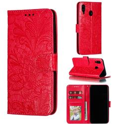 Intricate Embossing Lace Jasmine Flower Leather Wallet Case for Samsung Galaxy M20 - Red
