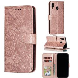 Intricate Embossing Lace Jasmine Flower Leather Wallet Case for Samsung Galaxy M20 - Rose Gold