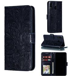 Intricate Embossing Lace Jasmine Flower Leather Wallet Case for Samsung Galaxy M20 - Dark Blue