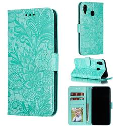 Intricate Embossing Lace Jasmine Flower Leather Wallet Case for Samsung Galaxy M20 - Green