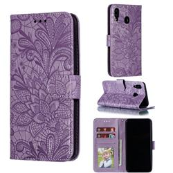 Intricate Embossing Lace Jasmine Flower Leather Wallet Case for Samsung Galaxy M20 - Purple