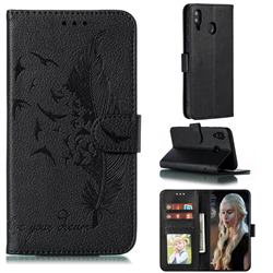 Intricate Embossing Lychee Feather Bird Leather Wallet Case for Samsung Galaxy M20 - Black