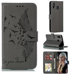 Intricate Embossing Lychee Feather Bird Leather Wallet Case for Samsung Galaxy M20 - Gray