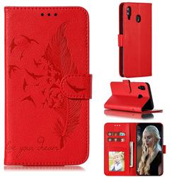 Intricate Embossing Lychee Feather Bird Leather Wallet Case for Samsung Galaxy M20 - Red