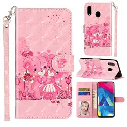 Pink Bear 3D Leather Phone Holster Wallet Case for Samsung Galaxy M20