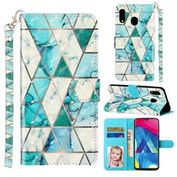 Stitching Marble 3D Leather Phone Holster Wallet Case for Samsung Galaxy M20