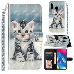 Kitten Cat 3D Leather Phone Holster Wallet Case for Samsung Galaxy M20
